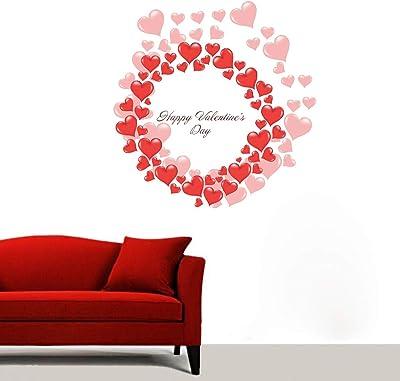 DecorVilla Happy Valentine's Day Wall Sticker and Decal (PVC Vinyl, 58 X 48 cm)
