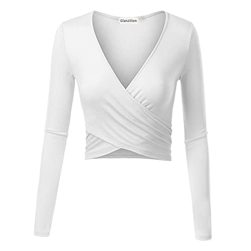 9376db5ec44 Glanzition Womens Shirts Short&Long Sleeve V Neck Crop Tops