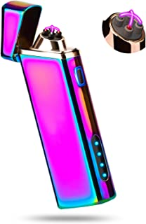 Sipoe Lighter, Electric Arc Lighter Windproof Lighter Plasma Lighter - USB Rechargeable, Upgraded Battery Indicator - Multichrome
