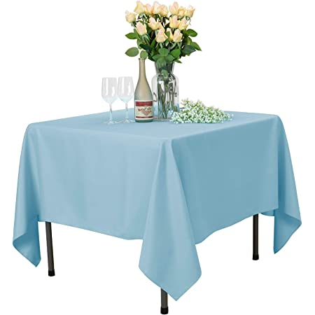 Amazon Com Veeyoo Square Tablecloth 70x70 Inch Polyester Table Cloth Washable Wrinkle Free Dinner Tablecloth For Wedding Party Restaurant Indoor And Outdoor Buffet Table Baby Blue Tablecloth Home Kitchen