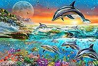 1000ピースの木製パズル-海から飛び出すイルカのパターン-DIYパズル面白いゲーム
