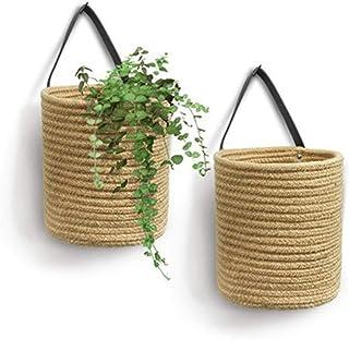 BSLVWG Seagrass Woven Storage Baskets Set of 2,Hand Woven Basket Indoor Outdoor Storage Flower...