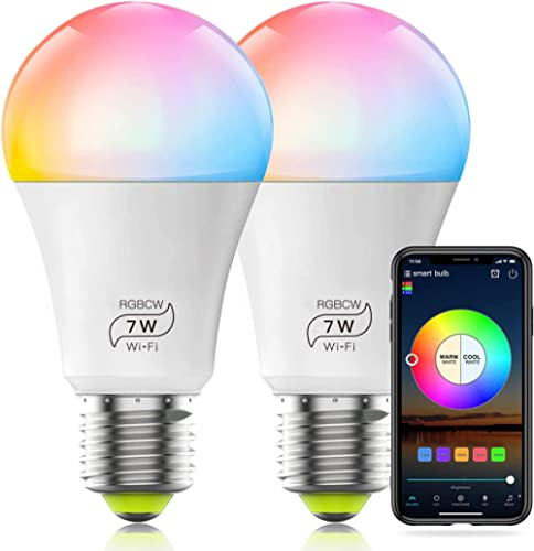 HaoDeng WiFi LED Light, 2Pack Smart Bulb -Timer& Sunrise& Sunset- Dimmable, Multicolor, Warm White (Color Changing Di...