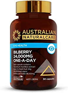 Australian NaturalCare - Eye Health Support - 24000mg Bilberry One-A-Day Eye Health Capsules (30 Count)