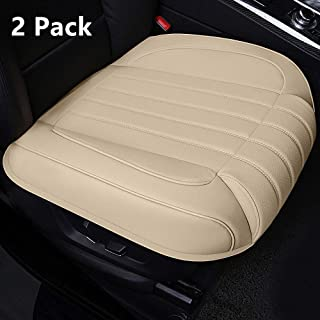 Ex Wind CN 2 Pack Universal Car Seat Cover, Luxury PU Leather Auto Front Driver Seat Cushion Ultra Comfortable Car Seat Bottom Protector,Suitable for 90% Most Vehicles,Beige