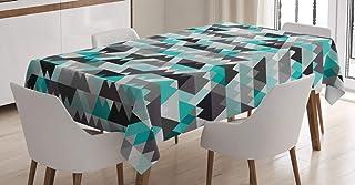 ABAKUHAUS Gris et Turquoise Nappe, Zig Zag Mosaic, Linge de Table Rectangulaire pour Salle à Manger Décor de Cuisine, 140 ...