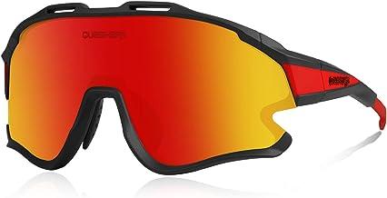 Queshark Fietszonnebril met 1 Gepolariseerde 3 HD Verwisselbare Lens Anti-UV400 voor Rijden Vissen Glof Honkbal Hardlopen ...