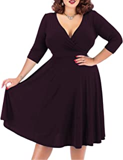Nemidor Women's V-Neckline Stretchy Casual Midi Plus Size Bridesmaid Dress
