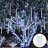 Falling Rain Decoration Lights, TOPIST Waterproof LED Meteor Shower Lights, 30cm 8 Tube 144 LED Icicle Snow Fall String Cascading Fairy Lights for Party, Holiday, Xmas Tree, Garden (White)
