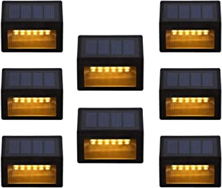 Solar Step Lights Outdoor - Amei 6 LED Solar Deck Lights, Solar Garden Lights, Solar Outdoor Lights Wall Mount, Waterproof Security Lamps for Decks Stairs Patio Pathway Fence (Warm White) (8 Pack)