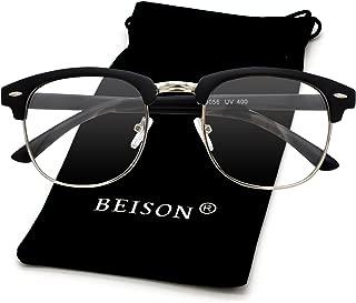 Beison Womens Mens Horned Rim Glasses Frame Nerd Eyeglasses 50mm (Matte black/Silver)