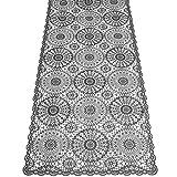 KERSTEN Outdoor-Tischläufer abwischbar wetterfest Crochet, 40 x 150 cm, Dunkelgrau