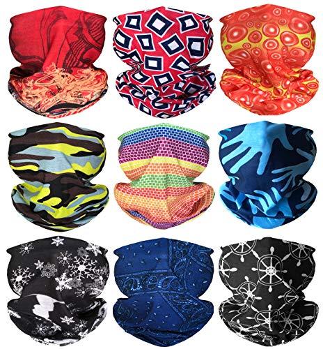 Kingree 9PCS Magic Scarf Elastic Seamless Bandana UV Resistence Sport Headwear (Noble)