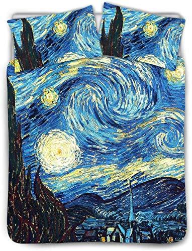 HUA JIE Juego De Funda Nórdica para Niños con Estampado De Noche Estrellada De Van Gogh,Funda De Edredón,Tamaño Doble con 2 Almohadas,Vergüenza