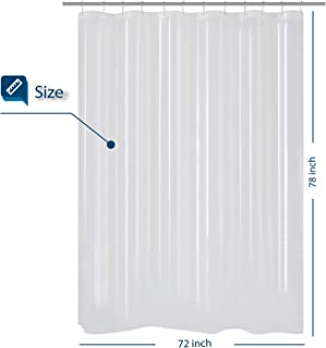 Barossa Design Long Shower Curtain with 78 inches Height PEVA, Waterproof, PVC Free, Metal Grommets, Clear, 72x78