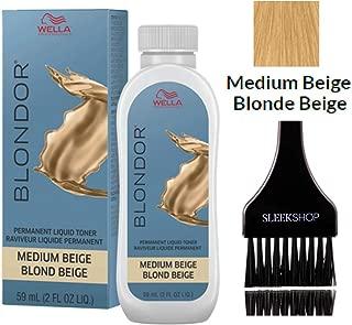 Wella BLONDOR Permanent Liquid Hair TONER (w/Sleek Tint Brush) Haircolor Hair Color Dye (01 Medium Beige)