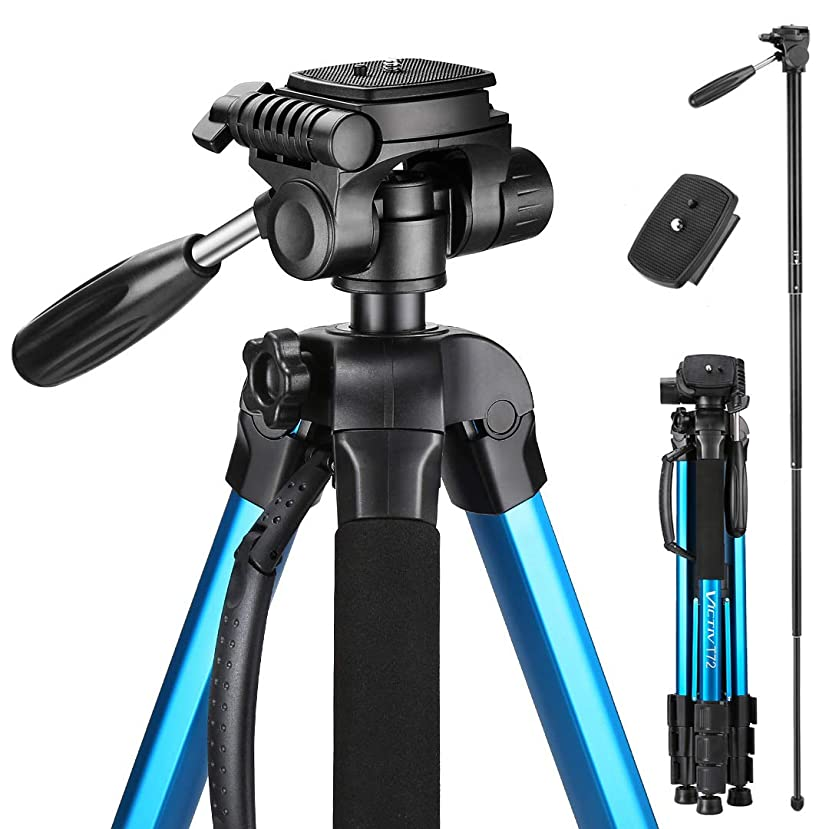 Victiv 72-inch Camera Tripod Aluminum T72 Max Height 182cm- Lightweight Tripod & Monopod Compact for Travel with 3-way Swivel Head and 2 Quick Release Plates for Canon Nikon DSLR Video Shooting - Blue