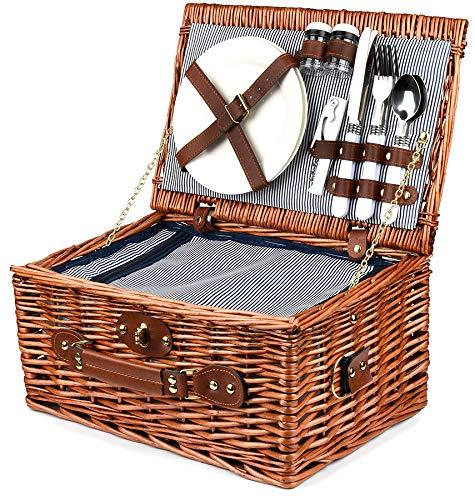 Bingo-Shop Picknickkorb für 2 Personen mit Kühlfach - Inklusive Bestecksets, Kühlfach, Korkenzieher und Keramikteller - 26 x 18 x 38 cm Picknickkoffer Picknickset Picknick Korb