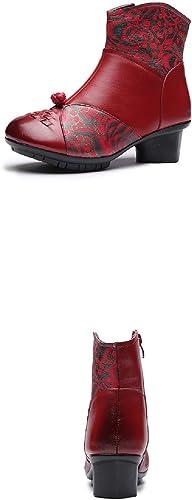 Gaslinyuan Stiefel Estampadas De Flores damen Bloque De Cuero Confort schuhe Vintage (Farbe   rot, tamaño   EU 36)