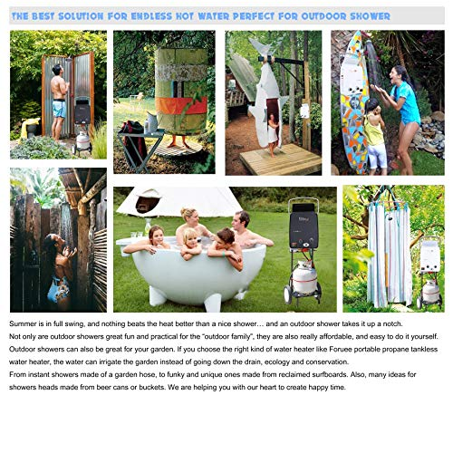 Portable Propane Tankless Water Heater, 1.32GPM/5Litre Capacity, 6-IN-1 Multiple Protection, 7 More Usage Scenarios, Low Pressure Startup, Black