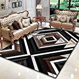 Alfombra Moderna para SalóN para Sala De Juegos Moda asimétrica geométrica Negro marrón Blanco Abstracto rombo 120X160CM(3ft11 x5ft3)