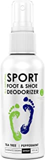 Natural Mint Shoe Deodorizer, Foot Deodorant Spray, Foot Odor Eliminator for All Shoes - Helps Fight Athletes Foot & Stinky Feet - Tea Tree Oil, Peppermint, Better Than Powder, Sneaker Ball - 4 Oz