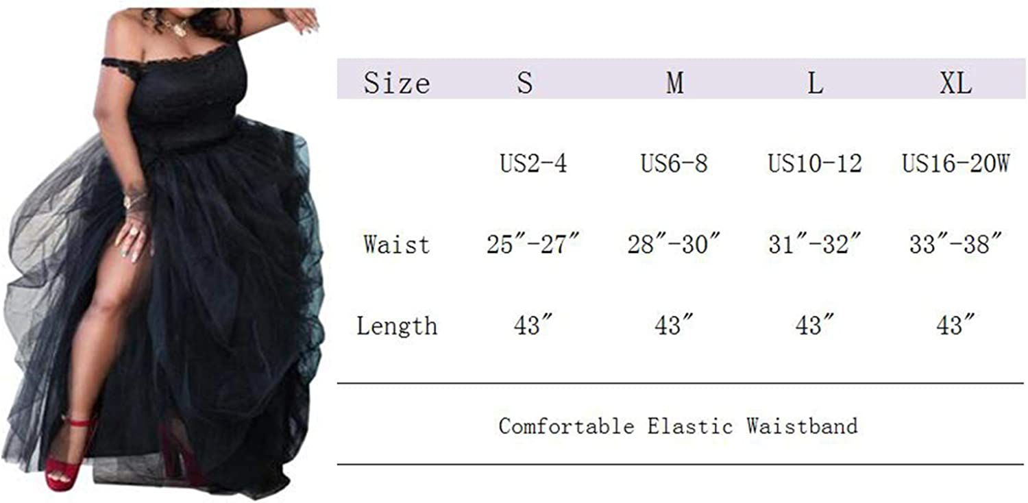 ASSN Women's Long Black High Low Split Tulle Skirt for Night Out Party