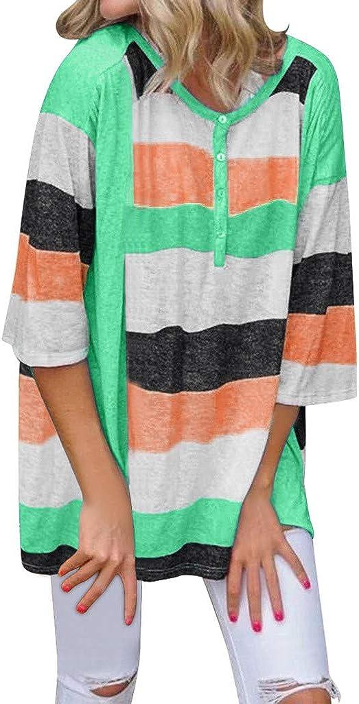 Sayhi Women Fashion Multicolor Striped O-Neck Down Purchase San Francisco Mall Bl Top Button