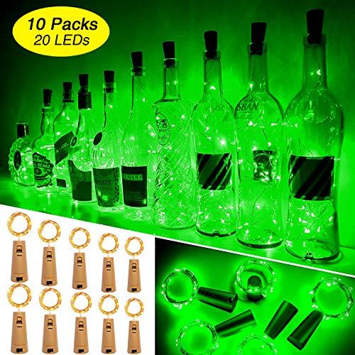 Ariceleo Wine Bottle Lights with Cork, 10 Packs Mini Battery Operated Cork Led Lights for Wine Bottle, Copper Fairy String Lights for Glass Bottle, Christmas, Bar, Bottle Top Stopper (Green)