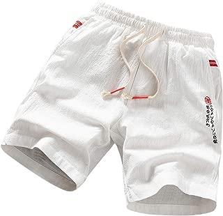 IHGTZS Pants for Men, Men's Pure Color Linen Cotton Multi-Pocket Overalls Shorts Fashion Pant