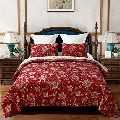 Qucover Tagesdecke Baumwolle 240x260cm Bettüberwurf Doppelbett Rot Decke Gesteppt mit Kissen Set Groß Wendedecke Landhausstil Blumenmuster