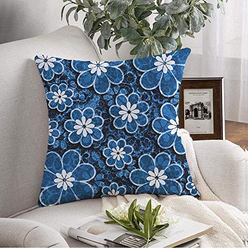 ETGeed Blue Style Toned Floral Design Scrapbook Patterned Petals Square Paper Artwork Textures Throw Pillow Covers For Decoration,18'x18'