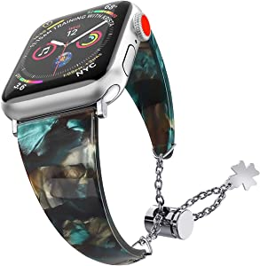Greaciary Resin Band Compatible with iWatch 38mm 40mm 42mm 44mm Elegant Strap,Tortoiseshell-Tone Waterproof Women Strap Bands Compatible for iWatch Series 5 4 3 2 1