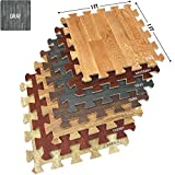 Sorbus Wood Floor Mats Foam Interlocking Wood Mats Each Tile 1 Square Foot 3/8-Inch Thick Puzzle Wood Tiles with Borders – for Home Office Playroom Basement (16 Tiles 16 Sq ft, Wood Grain - Gray)