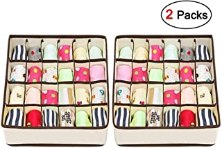 Drawer Organisers Dividers - Joyoldelf 2 Packs Wardrobe Organiser, 24 Cell Collapsible Closet Cabinet Organizer Underwear Storage Boxes for Storing Socks, Bra, Handkerchiefs