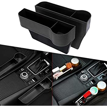 1pcs Elikliv Car Seat Gap Storage Car Seat Cearance Box Cup Holder Multifunctional Car Seat Gap Filler Premium PU Leather Car Console Side Pockets