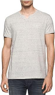 Mens Heathered Striped Embellished T-Shirt