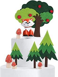 Mity rain Woodland Theme Cake Topper/Handmade Fox Mushroom Tree Cake Decoration Baby Shower Birthday Party Supplies