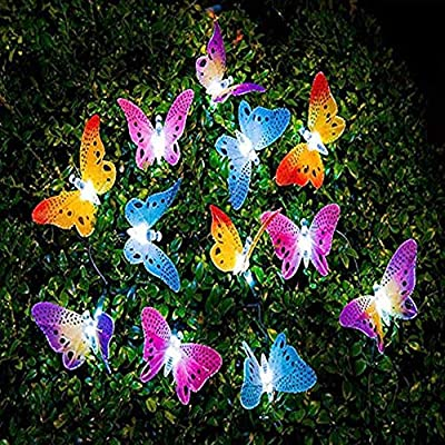 Butterfly Solar String Lights Outdoor, Berocia 12 LED Waterpoof LED Solar Butterfly Lights Outdoor Indoor for Bedroom (Butterfly)
