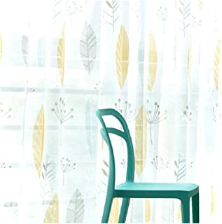 Curtain for Living Room Children Bedroom Cartoon Leaf Printed Voile Curtain Kids Curtains,Tulle,w200cm x h260cm,Hook