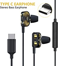 USB C Earphones Stereo, CTXTKER Type C Dual Speakers HiFi Stereo Bass Digital Noise Canceling in-Ear Earbuds with Mic Noise Cancelling and Volume Control Compatible with Google Pixel 3/2/XL, Sony XZ2