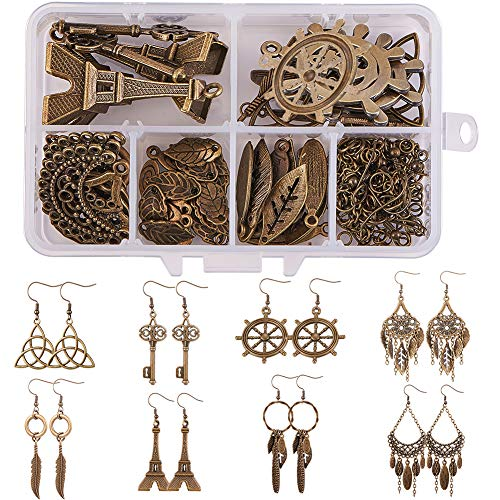 SUNNYCLUE 1 Box DIY 8 Pairs Antique Bronze Chandelier Earring Making Kit Jewelry Making Supplies Include Helm Tower Key Feather Celtic Knot Chandelier Charm Pendants, Earring Hooks Nickel Free