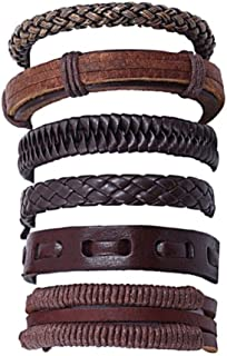 4-6PCS Set Handmade Leather Bracelet for Men & Women Multi-layer Woven Leather Bracelet with Unisex Cuff Adjustable Wristb...
