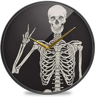 Chovy 掛け時計 サイレント 連続秒針 壁掛け時計 インテリア 置き時計 北欧 おしゃれ かわいい 髑髏 黒 ブラック かわいい 可愛い おもしろ 部屋装飾 子供部屋 プレゼント