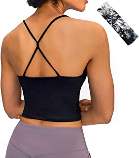 Padded Strappy Sports Bra Yoga Tops Activewear Workout Sexy Crisscross Back Removable Cups
