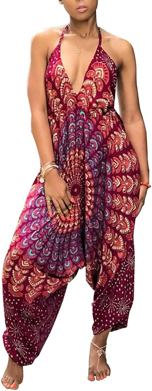 Kafiloe Womens Boho African Print Spaghetti Strap Loose Fit Harem Jumpsuit Rompers Pants Long Summer Casual