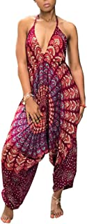 Womens Boho African Print Spaghetti Strap Loose Fit Harem Jumpsuit Rompers Pants Long Summer Casual