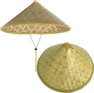HUANGA Lot de 2 Chapeau en Bambou Chapeau Oriental Chapeau Asiatique Chapeau Chinois Chapeau Japonais Chapeau Conique Chap...