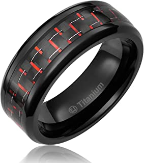Cavalier Jewelers 8MM Mens Titanium Ring Wedding Band Black Plated with Black and Red Carbon Fiber Inlay