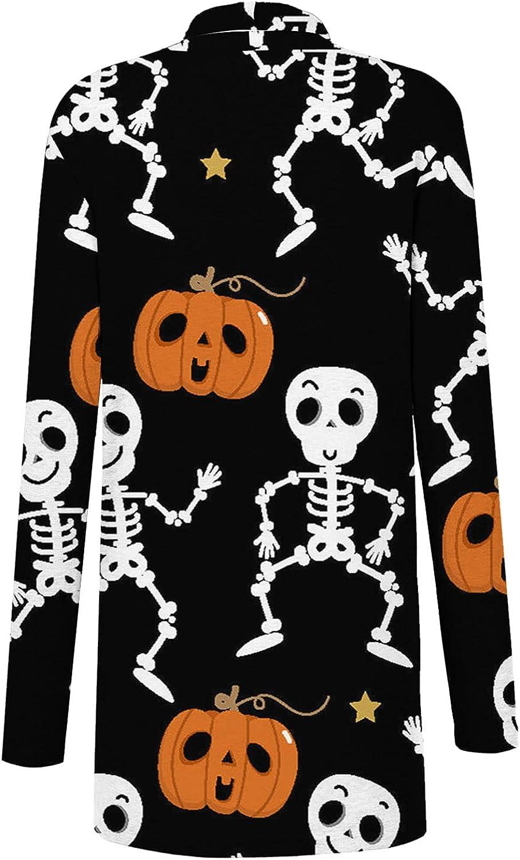 Halloween Cardigan for Women,Funny Cute Pumpkin Skull Graphic Tops Long Sleeve Open Front Lightweight Coat